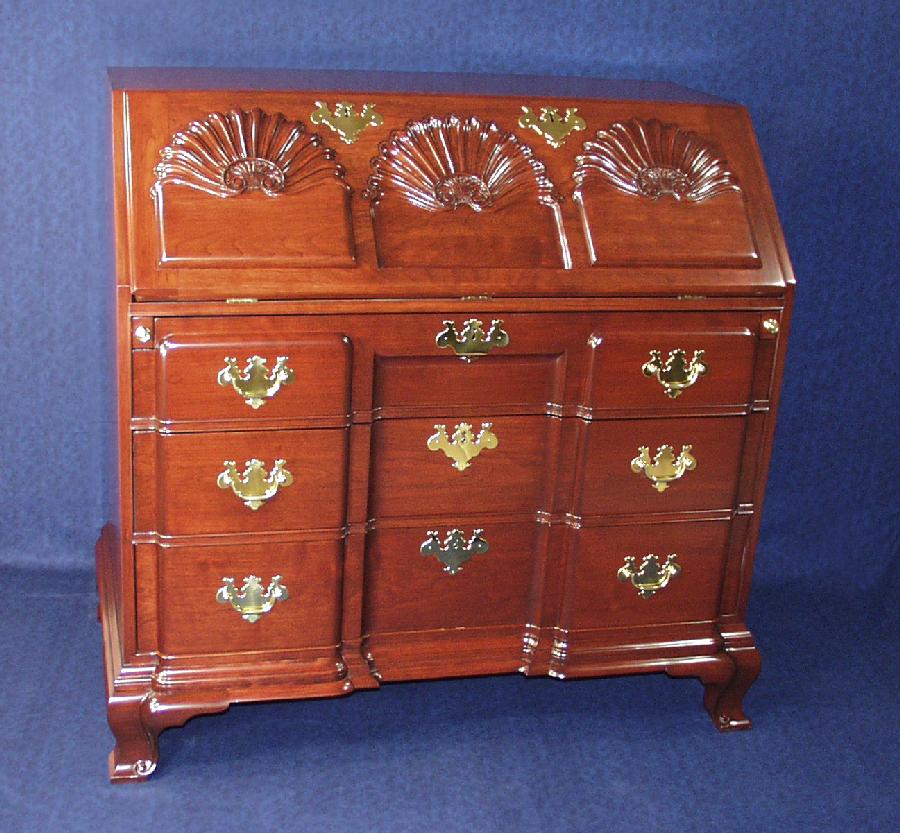 Newport Block And S Carved Slant Top Desk Big Image Open Antique Replica