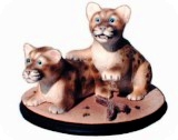 Panther Cubs Sculpture, animals, cats, sculpture, statue, art