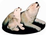 Howling Timber Wolves sculpture, animals, dogs, sculpture, statue, art
