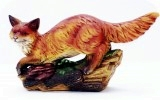 Fox On Wood 18X7 in. , animals, dogs, sculpture, statue, art