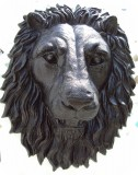 21-Lon-Head-Mask-Black-Onyx, Lion Head life-size wall mask Realistic, animals, lions, sculpture, statue, art
