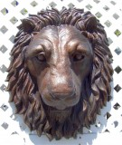 21-lion-head-lifesize_oldcopper2, Lion Head life-size wall mask Realistic, animals, lions, sculpture, statue, art