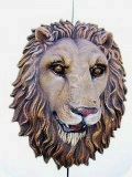 Lion Head life-size wall mask Realistic, animals, lions, sculpture, statue, art