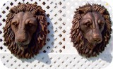 21-lion-head-natural-bronze, Lion Head life-size wall mask Realistic, animals, lions, sculpture, statue, art