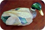Duck Mallard Decoy 12X6X6 in. , birds, bird, sculpture, statue, art