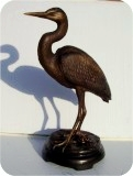 Bronzed Heron Lifesize, birds, herons, sculpture, statue, art