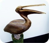 Life-sized Brown Pelican statue - Open Mouth, birds, pelicans, sculpture, statue, art