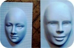 His N Her Facemasks 7 in. , figurine, , sculpture, statue, art