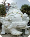 Happy Buddha Laughing in Dragon Chair, Buddha on Lotus flower for sale custom buddha art statues and artist sculptures