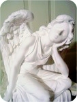 Angel_Sitting_18x10_detail, Angel Sitting 18X10 in. , religious, angelic, sculpture, statue, art