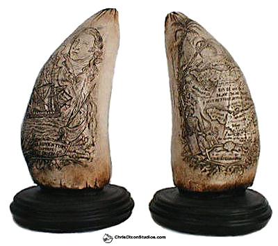 Scrimshaw Whale Teeth Set antique replica sculptures