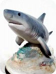 17_1_great_white_shark_closeup06, Great White Shark fish on Reef sculpture, sealife, sharks, sculpture, statue, art