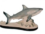 Great White Shark fish on Reef sculpture, sealife, sharks, sculpture, statue, art