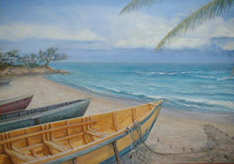 Paintings of Caribbean fishing boats and Pelican Beach