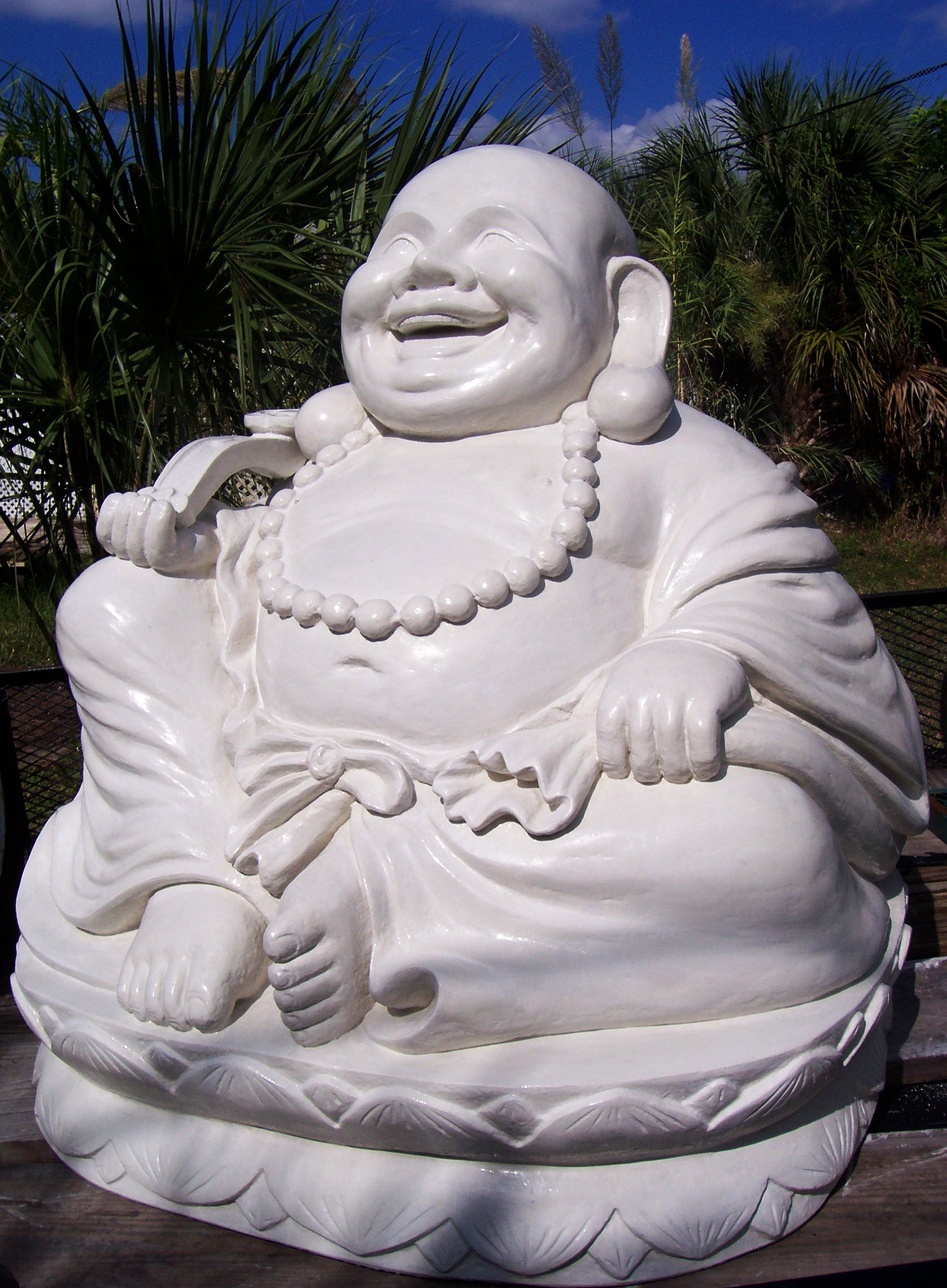 Happy buddha laughing on lotus flower for sale custom buddha art laughing buddha on lotus base with mantra beads and prayer faux white marble sculpture approx 37d x 44w x 49h inches indoor outdoor custom made statue izmirmasajfo