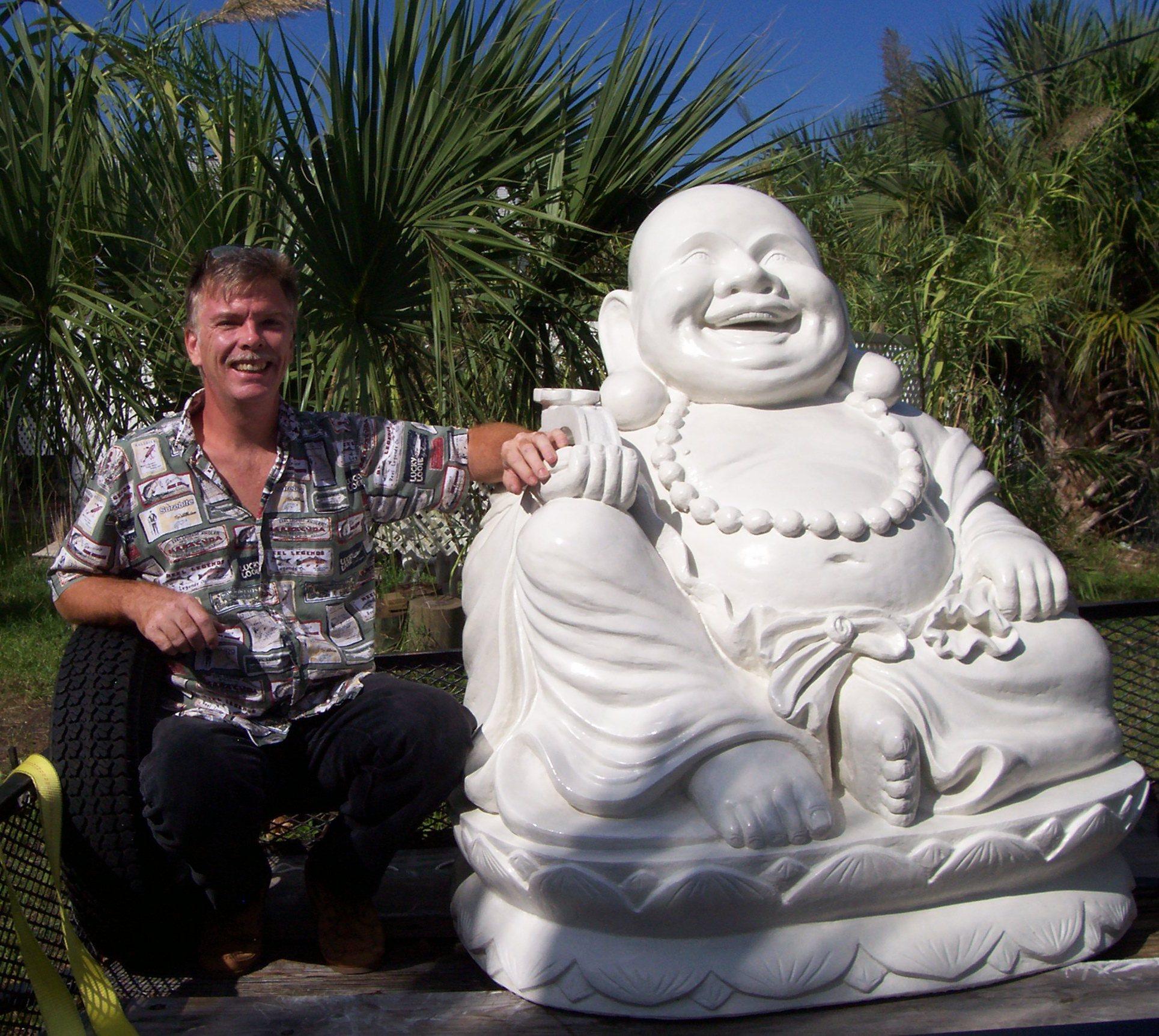 Happy Buddha Laughing On Lotus Flower For Sale Custom Buddha Art