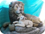 Lion and Lamb, Animal statue custom made in USA